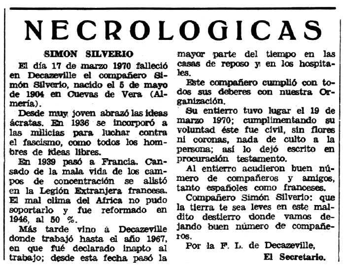 """Necrològica de Silverio Simón Sánchez apareguda en el periòdic tolosà """"Espoir"""" del 17 de maig de 1970"""