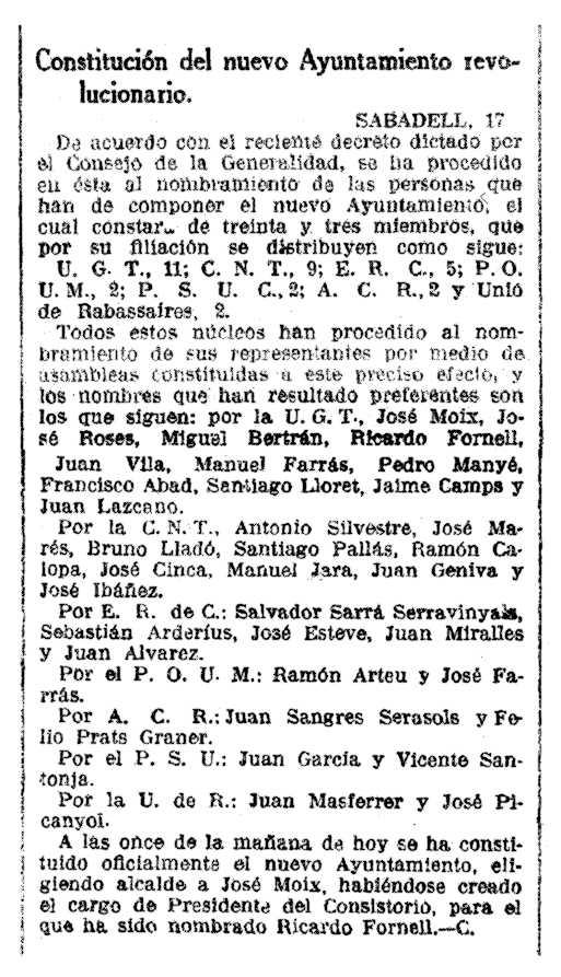 """Notícia del nomenament de Antoni Silvestre Franco com a conseller cenetista de l'Ajuntament de Sabadell apareguda en el diari barceloní """"La Vanguardia"""" del 18 d'octubre de 1936"""