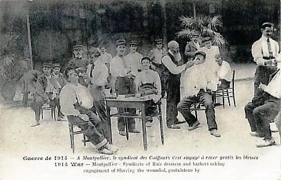 En Montpellier, el sindicato de barberos afeita gratis los soldados heridos en la Gran Guerra