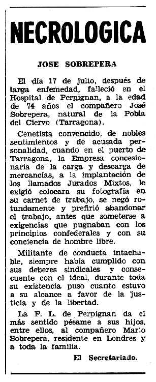 """Necrològia de Josep Sobrepere Preixens apareguda en el periòdic tolosà """"Espoir"""" del 18 d'agost de 1963"""