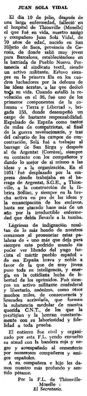 """Necrològica de Joan Solà Vidal apareguda en el periòdic tolosà """"Espoir"""" del 2 de gener de 1966"""