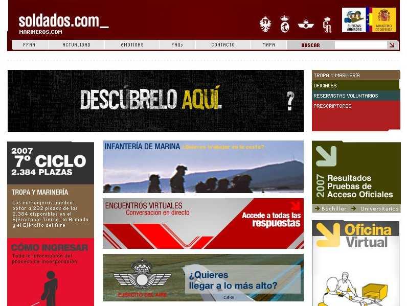 Web de les Forces Armades fent-se propaganda