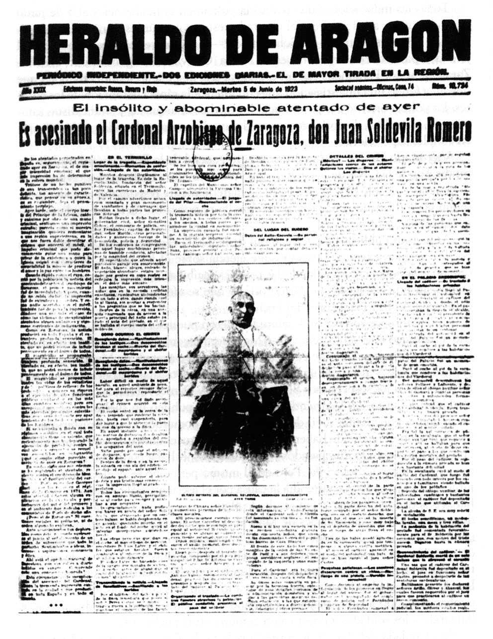 "Portada d'""Heraldo de Aragón"" del 5 de juny de 1923, notificant la mort del cardenal Soldevila"