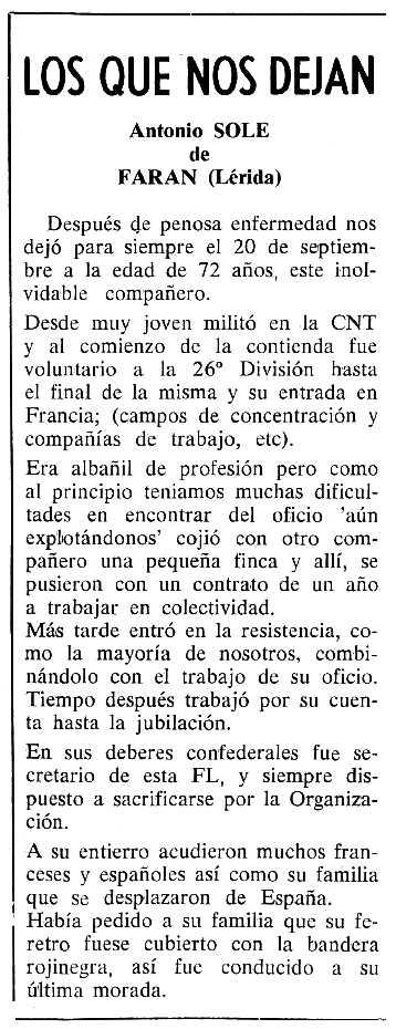 """Necrològica d'Antoni Solé Miquel apareguda en el periòdic tolosà """"Cenit"""" del 6 de desembre de 1988"""