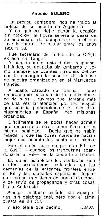 """Necrològica d'Antonio Solero apareguda en el periòdic tolosà """"Cenit"""" de l'11 de juny de 1985"""