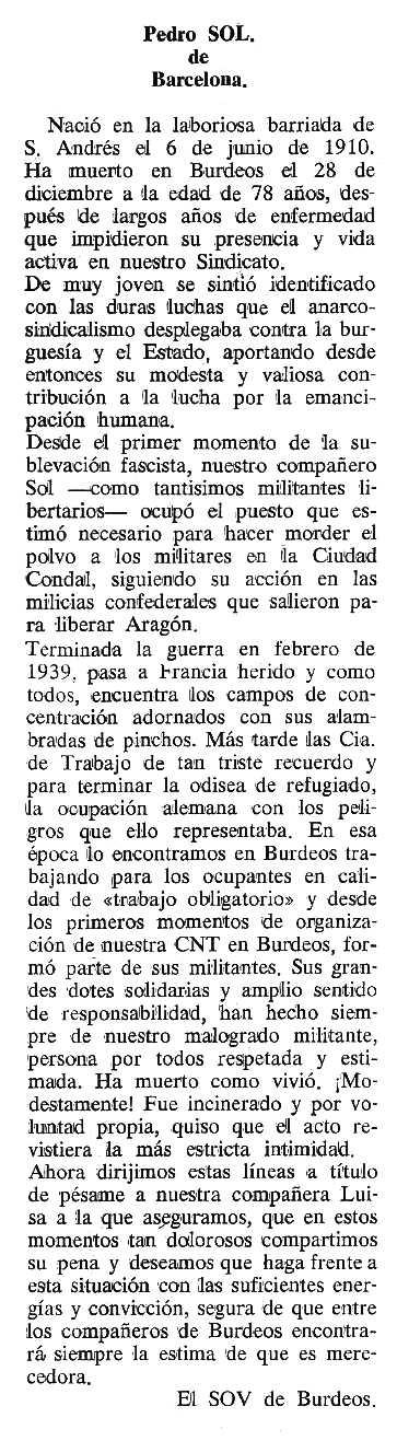 """Necrològica de Pere Sol apareguda en el periòdic tolosà """"Cenit"""" del 14 de març de 1989"""