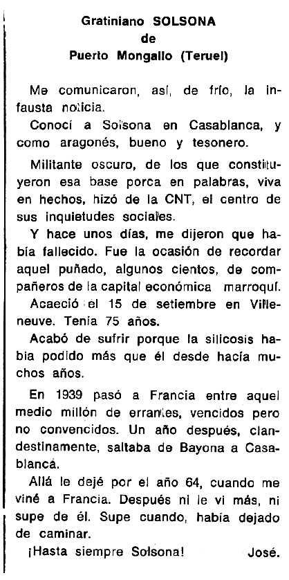 """Necrològica de Gratiniano Solsona Solsona apareguda en el periòdic tolosà """"Espoir"""" del 15 de juny de 1975"""
