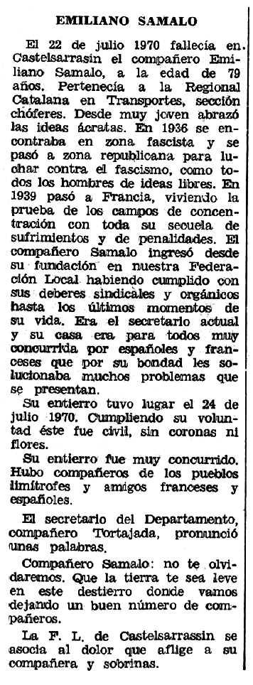 """Necrològica d'Emiliano Somalo Hernáez apareguda en el periòdic tolosà """"Espoir"""" de l'1 de novembre de 1970"""