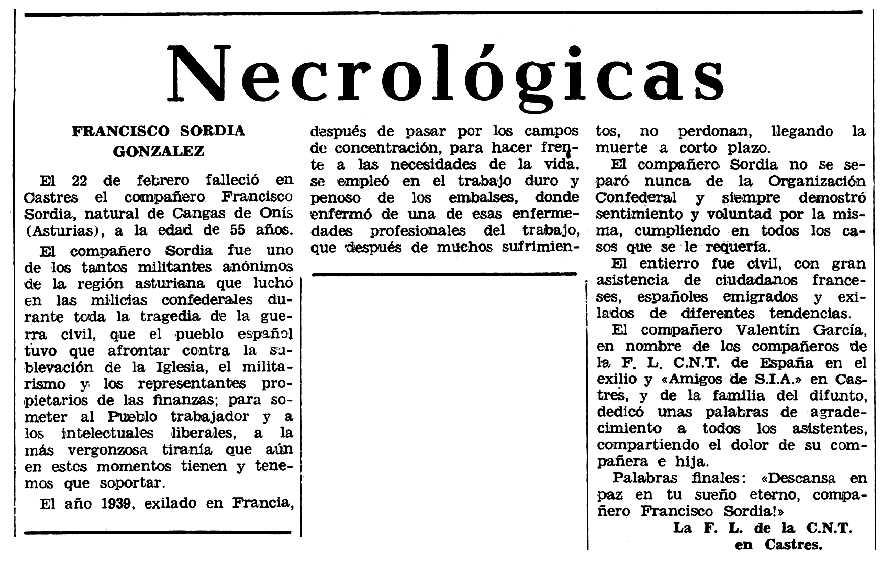 "Necrològica de Francisco Sordia González apareguda en el periòdic tolosà ""Espoir"" del 4 de maig de 1969"