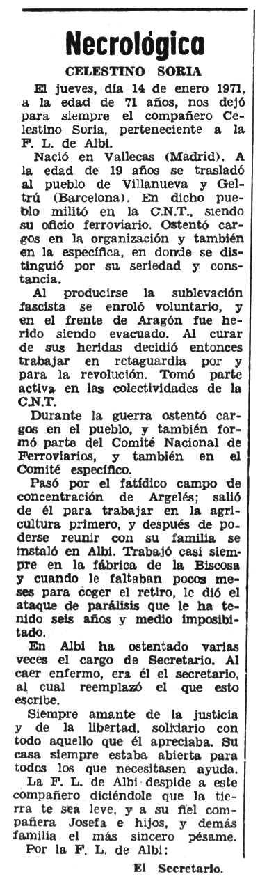 """Necrològica de Celestino Soria Lafuente apareguda en el periòdic tolosà """"Espoir"""" del 14 de març de 1971"""