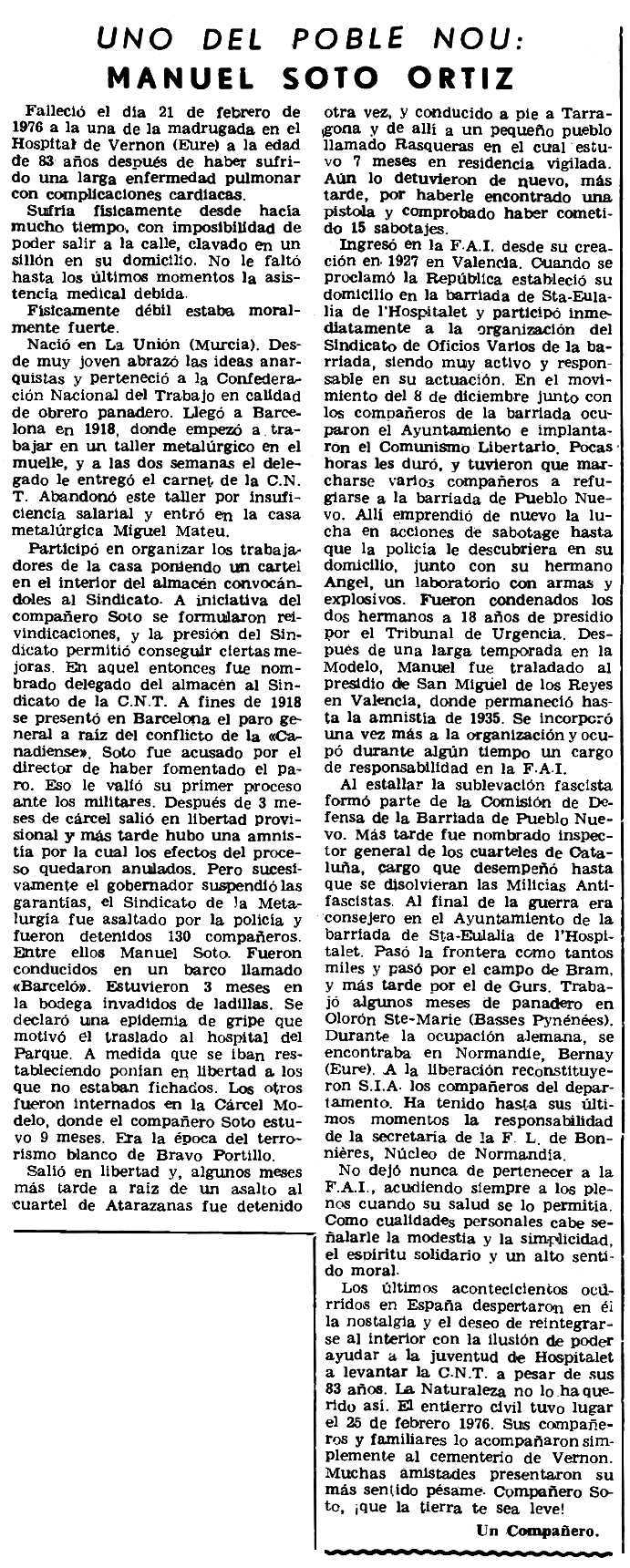 "Necrològica de Manuel Soto Ortiz apareguda en el periòdic parisenc ""Le Combat Syndicaliste"" del 8 d'abril de 1976"