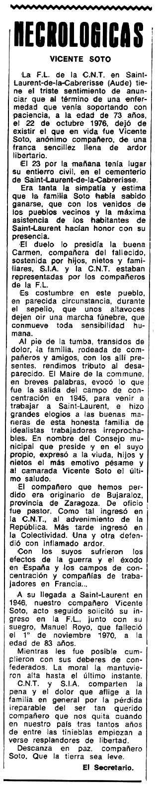"""Necrològica de Vicente Soto Royo apareguda en el periòdic tolosà """"Espoir"""" del 19 de juny de 1977"""