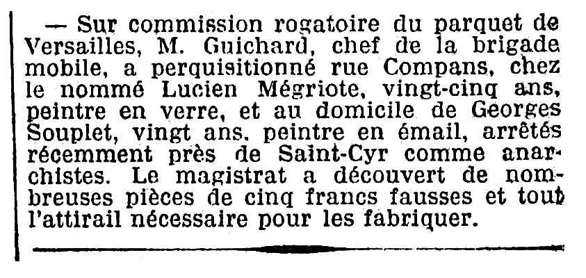 """Notícia sobre la detenció de Georges Souplet aparegut en el diari parisenc """"Le Matin"""" del 4 de maig de 1905"""