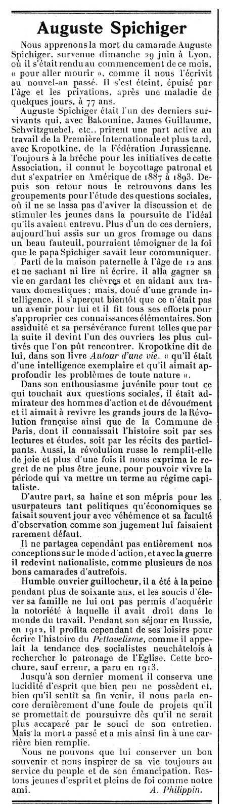 """Necrològica d'Auguste Spichiger publicada en el periòdic ginebrí """"Le Réveil Anarchiste"""" del 19 de juliol de 1919"""
