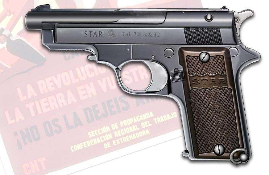 """Star 1919 Cal 7,65 mm (sistema Manlincher) de set cartutxos, coneguda com """"la pistola dels sindicalistes"""""""