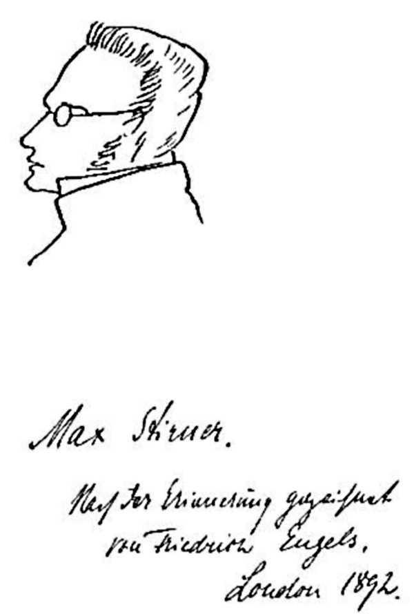 Caricatura d'Stirner realitzada de memòria per Friedrich Engels a Londres en 1892