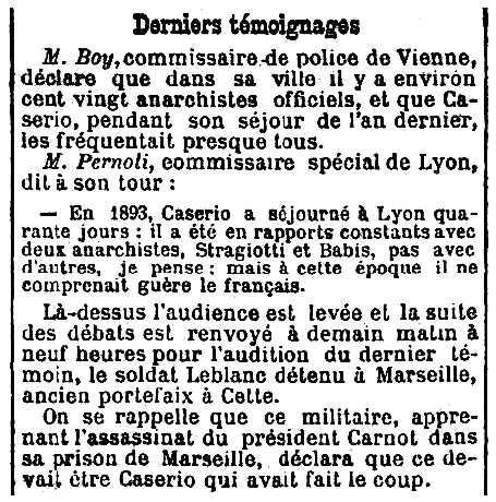 """Notícia sobre la relació de Tiburcio Straggiotti amb Caserio apareguda en el periòdic parisenc """"Le Radical"""" del 4 d'agost de 1894"""