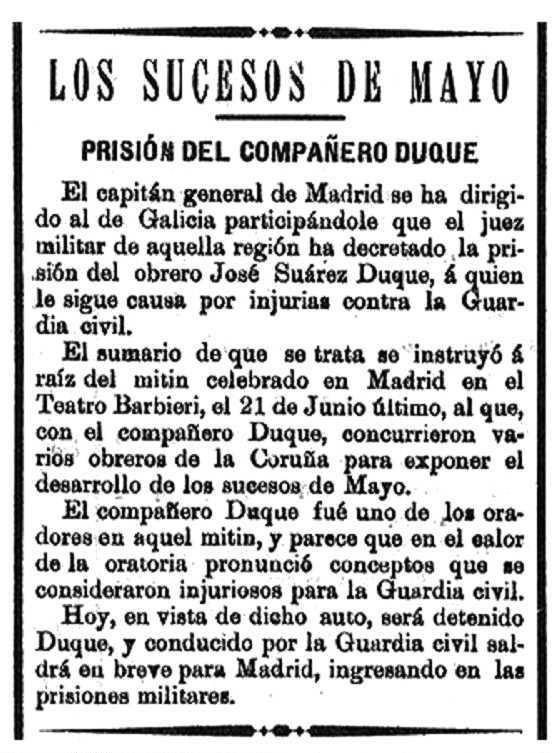 """Notícia de la detenció de José Suárez Luque apareguda en el diari """"El Noroeste"""", de la Corunya (15 de febrer de 1902)"""