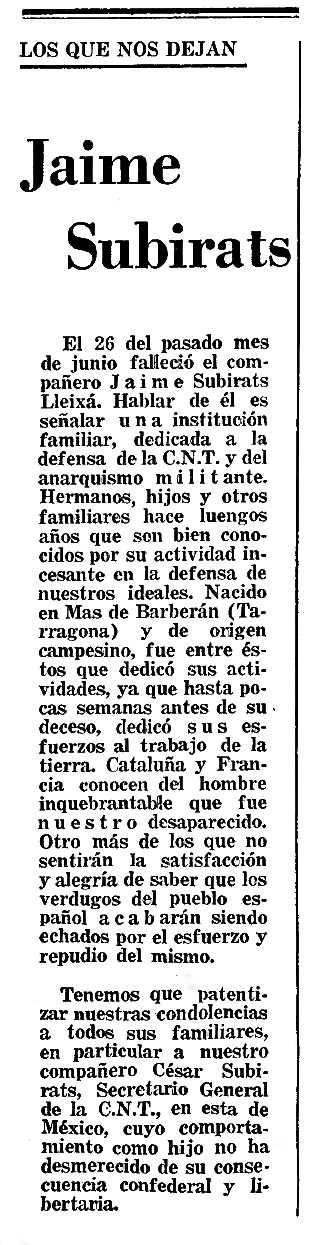"""Nota necrològica de Jaume Subirats Lleixa apareguda en el periòdic mexicà """"Tierra y Libertad"""" d'agost de 1970"""