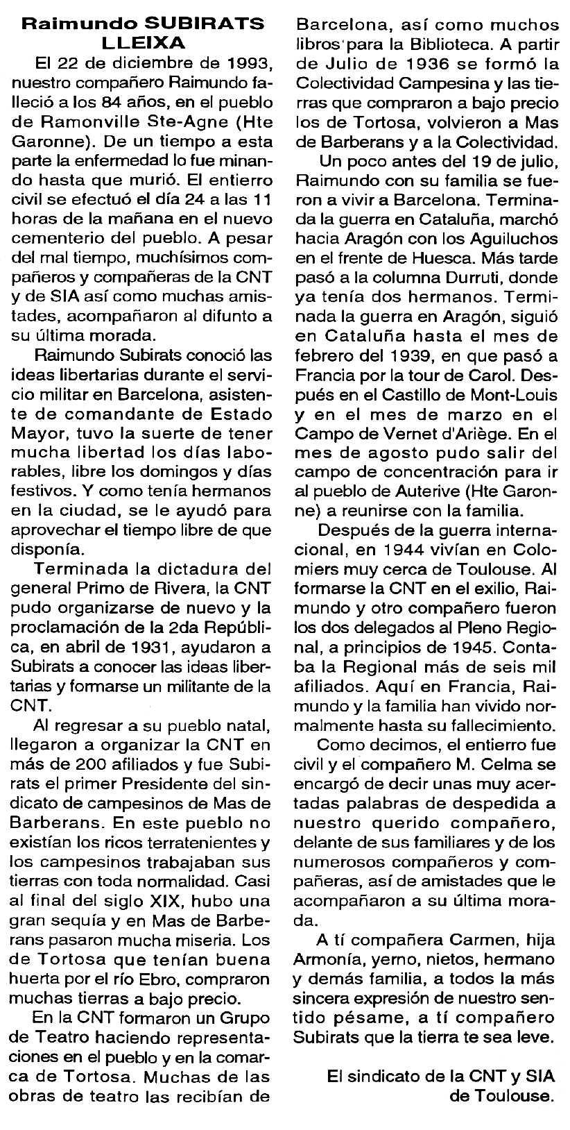 """Necrològica Raimon Subirats Lleixa apareguda en el periòdic tolosà """"Cenit"""" del 8 de març de 1994"""