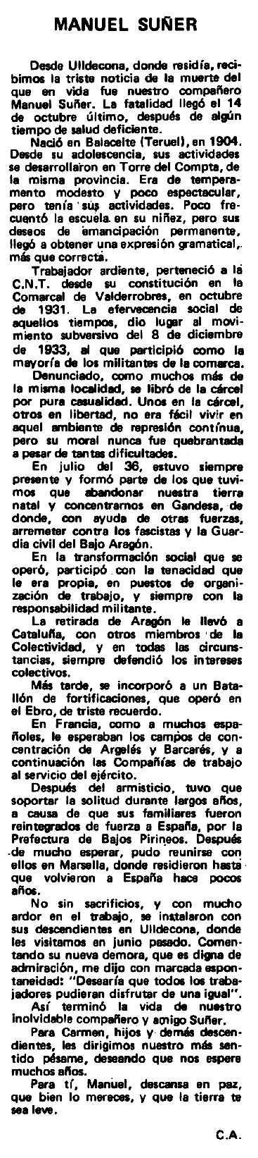 """Necrològica de Manuel Suñer Ferrer apareguda en el periòdic tolosà """"Espoir"""" del 17 de juny de 1980"""