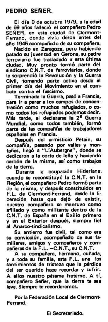 """Necrològica de Pedro Suñer Lucero apareguda en el periòdic tolosà """"Espoir"""" del 2 de desembre de 1979"""