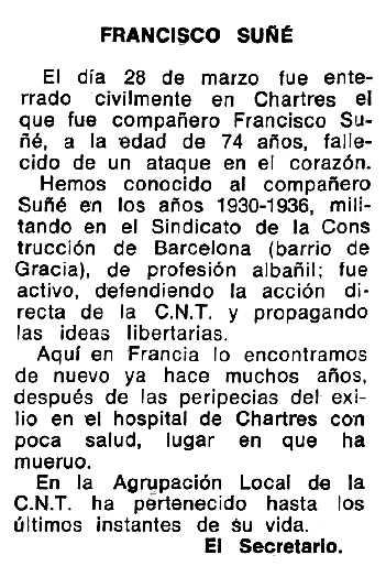 """Necrològica de Francesc Suñé Trenc apareguda en el periòdic tolosà """"Espoir"""" del 3 d'agost de 1975"""