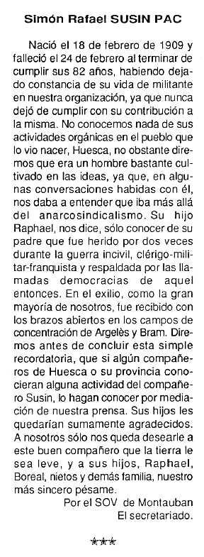 """Necrològica de Simón Susín Pac apareguda en el periòdic tolosà """"Cenit"""" del 24 de març de 1992"""