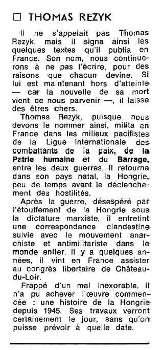 """Notícia de la mort de Ferenc Szücs aparaguda en el periòdic tolosà """"Espoir"""" de l'11 de juny de 1979"""