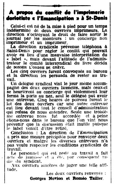 """Notícia de l'acomiadament de Roméo Tailler apareguda en el periòdic parisenc """"Le Libertaire"""" del 3 de juliol de 1936"""