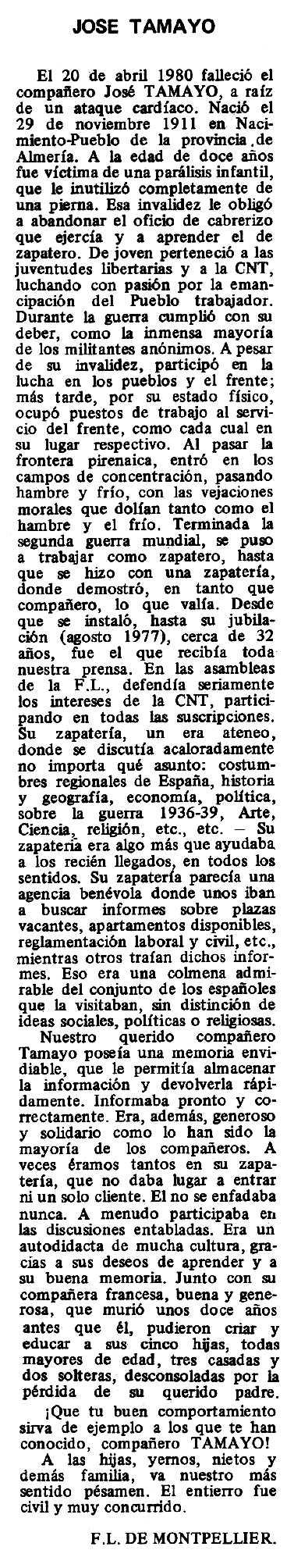 """Necrològica de José Tamayo apareguda en el periòdic tolosà """"Espoir"""" del 2 de novembre de 1980"""