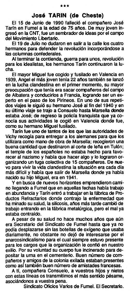 """Necrològica de José Tarín Haro apareguda en el periòdic tolosà """"Cenit"""" de l'11 de setembre de 1990"""
