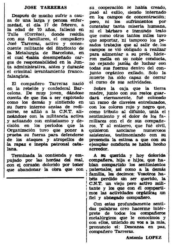 """Necrològica de Josep Tarreras apareguda en el periòdic tolosà """"Espoir"""" del 5 de maig de 1968"""