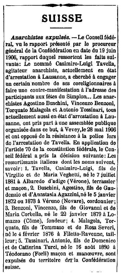 """Notícia de l'expulsió de Casimiro Tavella apareguda en el diari de Neuchâtel """"Feuille d'Avis de Neuchâtel"""" del 2 de juliol de 1906"""