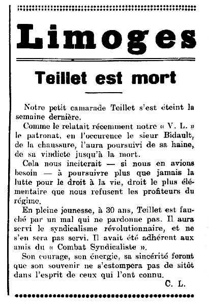 """Necrològica de Martial Teillet apareguda en el periòdic de Llemotges """"La Voix Libertaire"""" del 25 de novembre de 1933"""