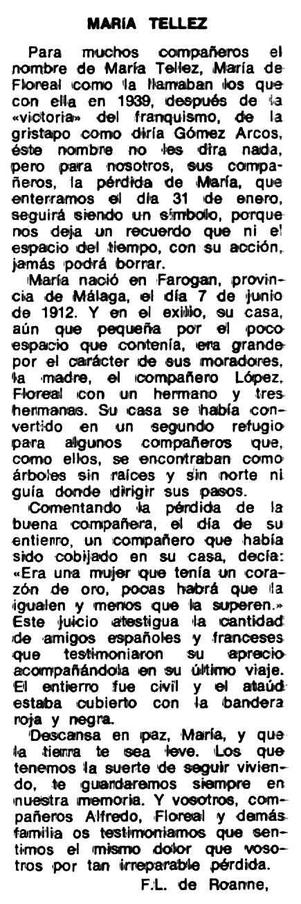 """Necrològica de María Téllez Téllez apareguda en el periòdic tolosà """"Espoir"""" del 21 de març de 1979"""