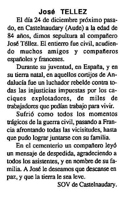 """Necrològica de José María Téllez Troyano apareguda en el periòdic tolosà """"Cenit"""" del 19 de febrer de 1991"""
