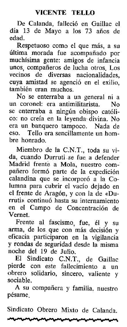 """Necrològica de Vicente Tello apareguda en el periòdic tolosà """"Cenit"""" del 28 de maig de 1985"""
