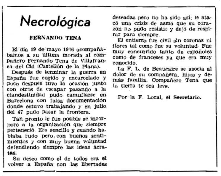 """Necrològia de Fernando Tena Fabregat publicada al periòdic parisenc """"Le Combat Syndicaliste"""" del 8 de juliol de 1976"""