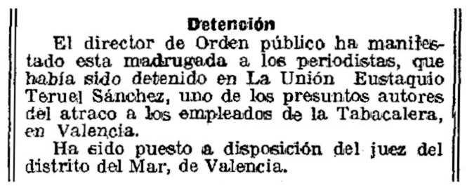"""Notícia de la detenció d'Eustaquio Teruel Sánchez apareguda en el diari barceloní """"La Vanguardia"""" del 26 de novembre de 1922"""
