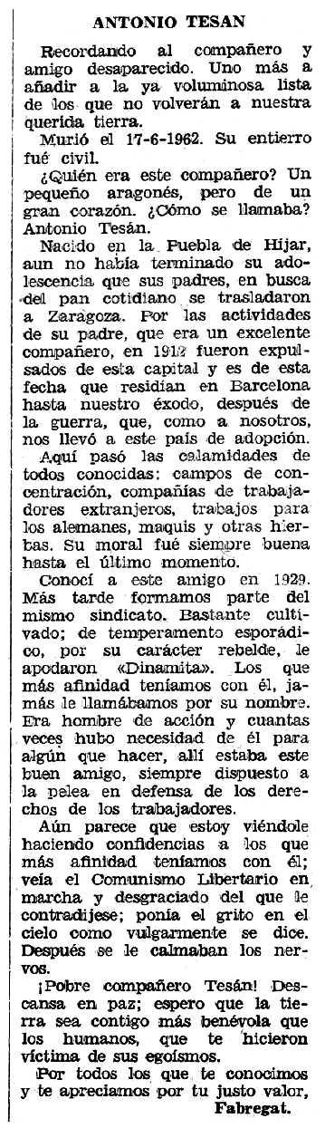 """Necrològica d'Antonio Tesán apareguda en el periòdic tolosà """"Espoir"""" del 25 de novembre de 1962"""