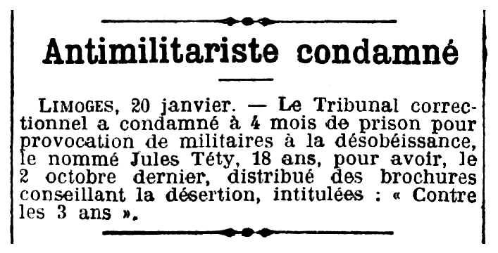 """Notícia de la condemna de Jules Téty apareguda en el diari algerí """"L'Écho d'Alger"""" del 21 de gener de 1914"""