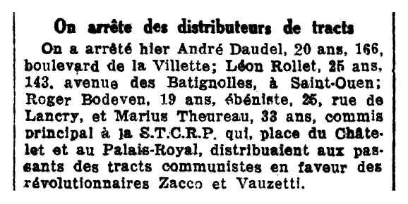 """Notícia de la detenció de Marius Theureau apareguda en el diari parisenc """"Le Rappel"""" del 21 de juliol de 1926"""
