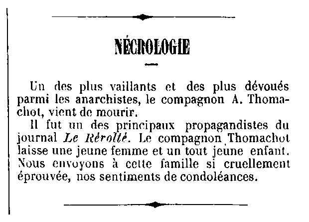 "Necrològica d'Auguste Thomachot apareguda en el periòdic parisenc ""Le Drapeau Rouge"" del 6 de juny de 1885"