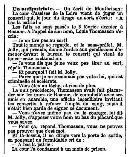 """Notícia de la condemna de Louis Thomasson apareguda en el diari parisenc """"Le Temps"""" del 8 d'abril de 1892"""