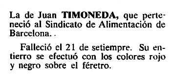 """Necrològica de Juan Timoneda Celma apareguda en el periòdic tolosà """"Cenit"""" de l'1 de novembre de 1983"""