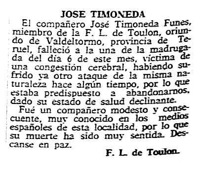 "Necrològica de Josep Timoneda Funes apareguda en el periòdic parisenc ""Solidaridad Obrera"" del 19 de setembre de 1957"