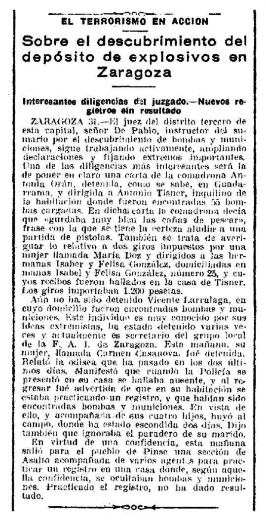 """Detenció d'Antonio Tisner Bescós segons el periòdic madrileny """"La Época"""" del 31 de maig de 1933"""