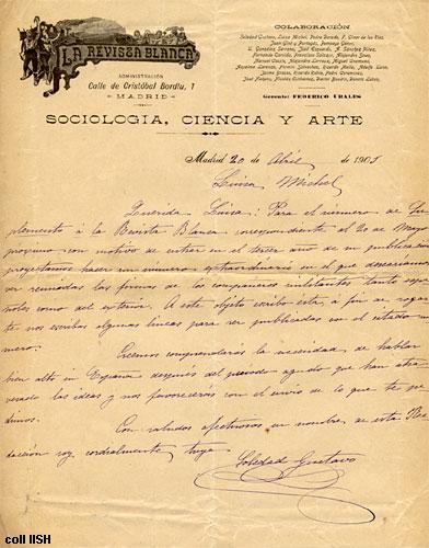 """Carta de Soldedad Gustavo a Louise Michel sobre el suplement de """"La Revista Blanca"""" (1901) [IISH]"""