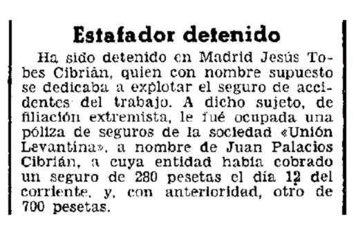 """Notícia de la detenció de Jesús Tobes Cibrián apareguda en el diari madrileny """"La Época"""" del 18 de novembre de 1935"""